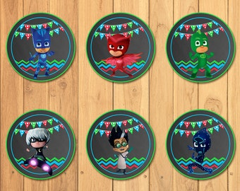 Pj Masks Cupcake Toppers Chalkboard * Pj Masks Stickers * Pj Masks Printables * Pj Masks Birthday * Pj Masks Party Favors