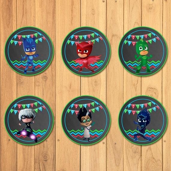 Pj Masks Cupcake Toppers Chalkboard * Pj Masks Stickers * Pj Masks Printables * Pj Masks Birthday * Pj Masks Party Favors