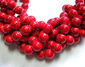 8mm Red Beads Red Jade Opaque Red Stone with Black Striping 50 Pieces 8mm Round Stone Beads 8mm Jade Black Red Jade  red jewelry