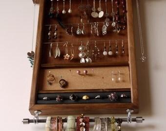 jewelry organizer. earring holder. wooden display. WALNUT stain holder. earring storage. earrings hanger. wall mounted display. ring holder.