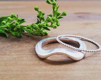 Flow ring, silver ring,wedding ring,minimalist ring,unique silver rings,stackable silver rings