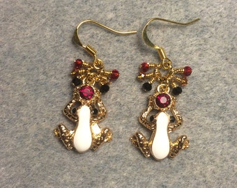 Gold and white enamel and red rhinestone frog charm earrings adorned with tiny dangling red, amber and black Chinese crystal beads.