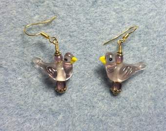 Light violet lampwork songbird bead dangle earrings adorned with light violet Czech glass beads