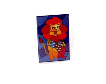 fridge magnet, magnet, lion magnet,