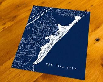 Sea Isle City, NJ - Map Art Print  - Your Choice of Size & Color!