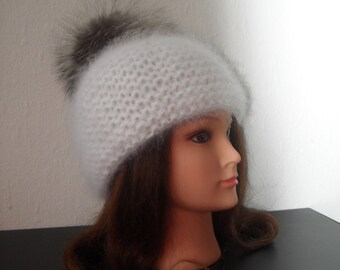 Women hand knitted ARISTOCRATS white Angora wool hat with natural Silver fox fur pom-pom / ear hat/ slouchy beanie