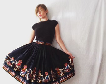 Vintage 1950's | Mexican Sombrero  | Puffy | High Waisted | Full Circle | Corduroy Skirt