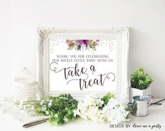 Floral Baby Shower Table Sign , Please Take a Treat Sign , Purple Baby Shower Decorations , Purple and Gold Sign , Printable , Download