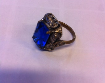 Beautiful boho cobalt blue crystal ring us size 7 uk L