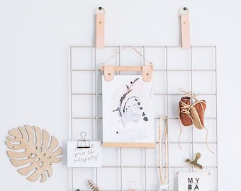 Grid Mood Boards - Metal Grid with Leather Straps - Metal Grid Memo Board // Soft Grey
