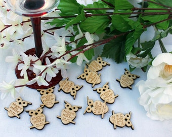 Wooden Owls Personalised Wedding / CP Table Confetti, Scatter Favours