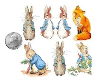 Temporary Tattoo - Set of 7 Peter Rabbrats and Fox / 6 Victorian Cats