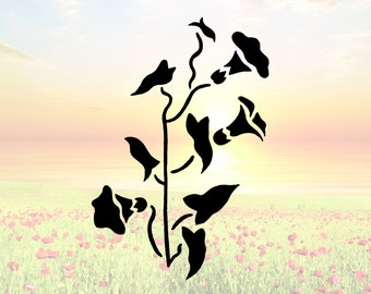 Flowers on Vine Stencil or Wall Decal DIY Project
