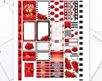 Roses are Red Printable Planner Stickers fit the Classic Mambi Happy Planner