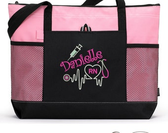 Personalized Rn, Lpn, Nurse, Emt Embroidered Zippered Tote Bag With Mesh Pockets, Beach Bag, Boating