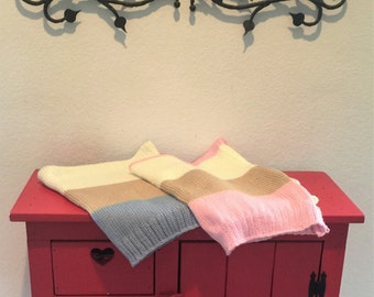 Brown & Beige with Pink or Blue Striped Knit Baby Blanket