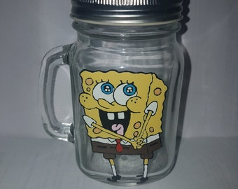 Hand painted spongebob drinking jar.