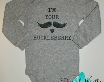 Huckleberry Bodysuit (I'm your) - Tombstone Movie Quote - Mustache - Doc Holliday - Infant Baby Onesie - Funny Shower Gift - Creeper - Grey
