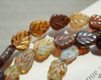 Autumm's Mix, Leaf Beads, Czech Beads, N1799