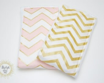 Girl Cloth Diapers/ Gold and Pink Chevron Baby Burp Cloths/ Pink Burp Cloth/ Girl Burp Cloth/ Baby Shower Gift/ Pink Nursery/ Gift for Mom