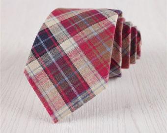 red plaid ties.wedding cotton ties for groom.groomsmen ties.standard vintage neckties.cotton accessories.everyday ties for men+nt.234s