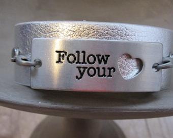 Inspirational Bracelet - Silver Leather Cuff - Motivational Bracelet - Inspirational Quote Bracelet - Stamped Bracelet - Leather Bracelet
