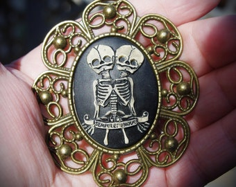 Large Bronze Siamese Twin Skeleton Hand Made Cameo Necklace