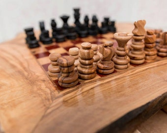 Chess,wood chess , natural wood chess , olive wood chess , chess small size , Tunisian chess, olive wood rustic chess.