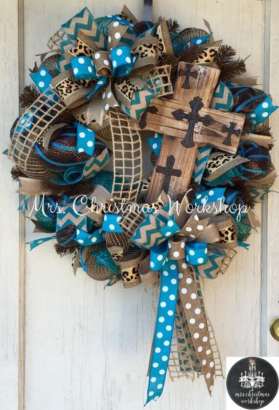 Cross Wreath Deco Mesh Wreath Burlap Wreath Religious Wreath