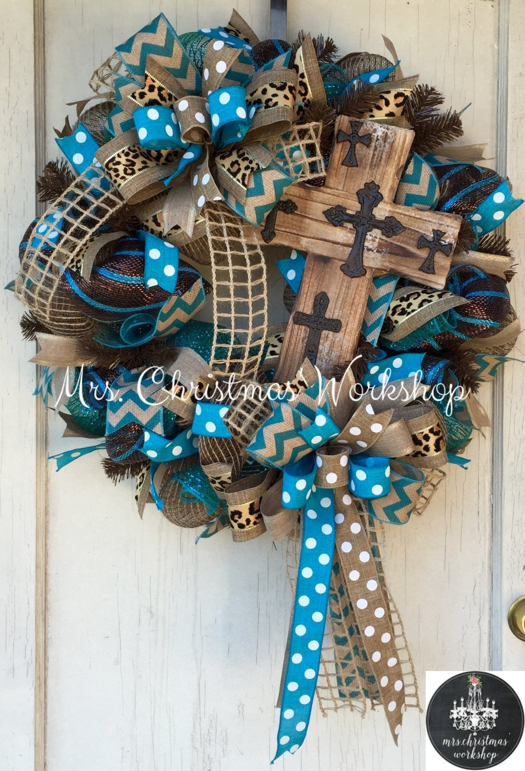 Cross Wreath Deco Mesh Wreath Burlap Wreath Religious Wreath