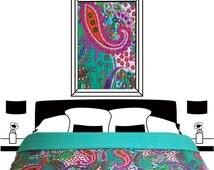 green Paisley Kantha quilt, Queen kantha quilt, kantha quilt, quilts,  kantha quilt, picnic quilt, winter quilt