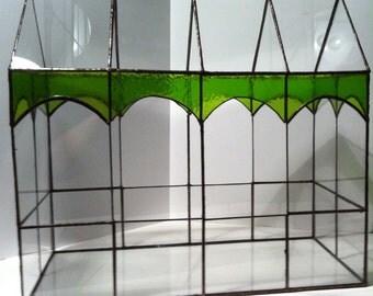 Stained glass terrarium, large geometric terrarium, green decorative glass,  indoor greenhouse, glass planter,