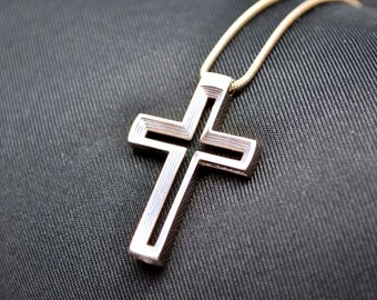 Transcendence Cross Necklace Pendant in Sterling Silver