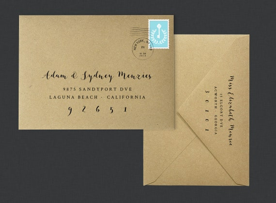 Printable envelope template calligraphy digital