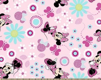 half yard (105cm x 45cm) cotton fabric - Disney Cute Minnie Mouse Pink