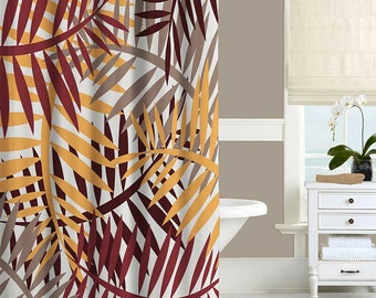 Modern Shower Curtain Taupe Red Yellow Brown Autumn Colors Leaves