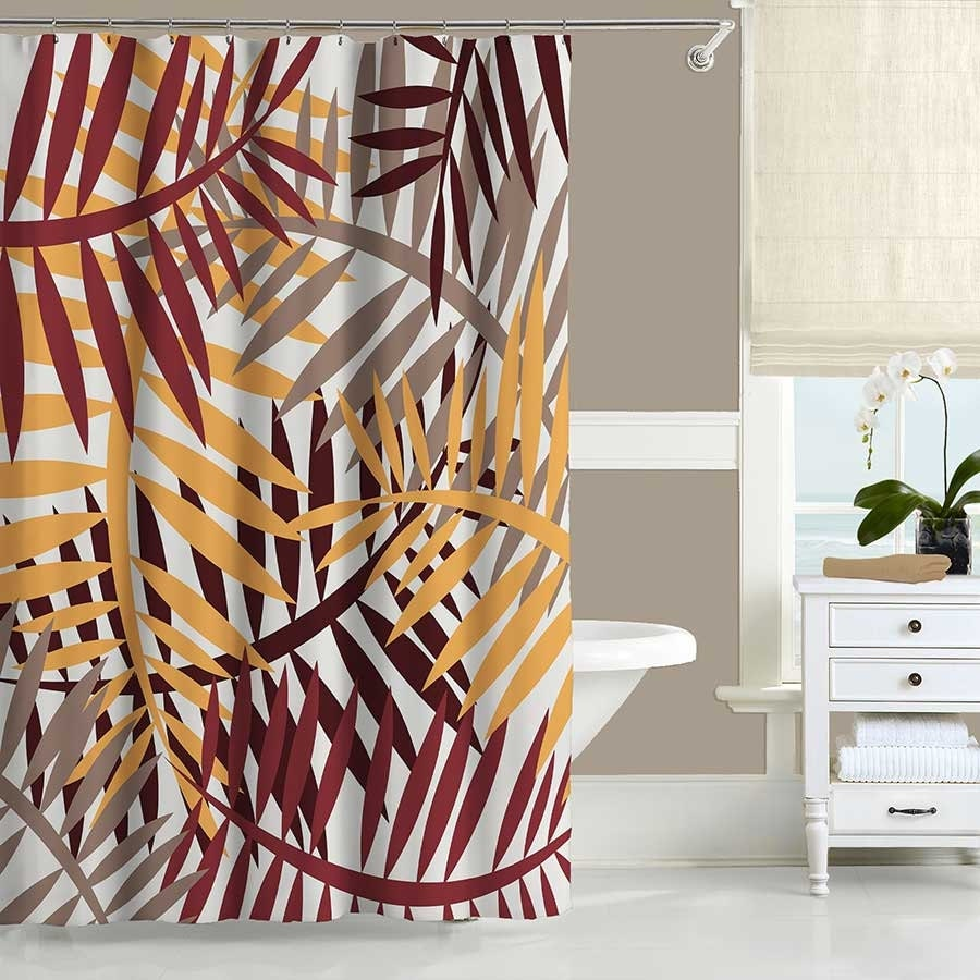 Modern Shower Curtain Taupe Red Yellow Brown Autumn