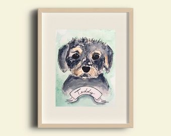 Mixed-Breed Dog CUSTOM Pet Portrait Watercolor Illustration