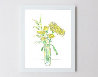 Wildflower Floral Arrangement Watercolor Illustration Print