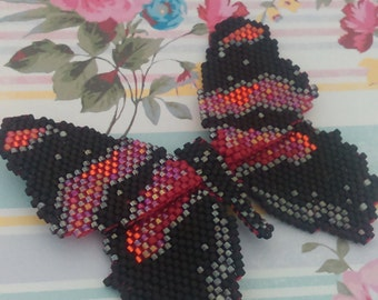 Beaded Matt Black and Irridiscent Red Butterfly