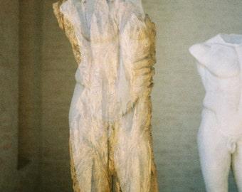 Male Torso, Male Sculpture , Print, Fine Art Photography, Classical Statue, Double Exposure,