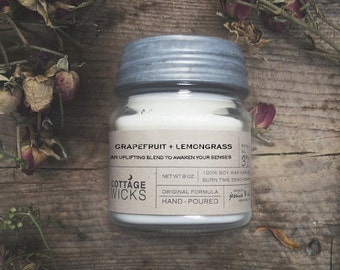 Grapefruit + Lemongrass - Soy Candle - Artisanal Small Batch Hand Poured Made in New England Soy Candle