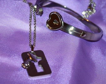 Locking Bracelet and Key (his and hers)  BDSM commitment set