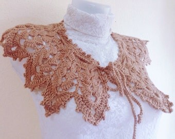 Pattern Crochet collar scarf, Lace Collar Pattern, Easy Collar crochet, Permission to sell finished items, Instant Download, US and UK