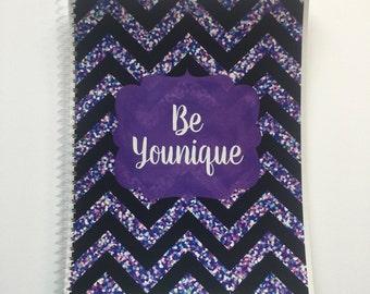 Younique Planner - Black and Purple Glitter Chevron