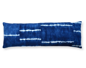 Shibori indigo long pillow cover – striped and pieced, hand dyed, 14x36 bolster pillow
