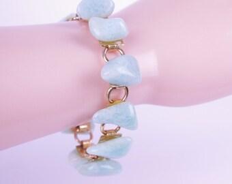 VTG 60s Light Blue Polished Stone Bracelet //