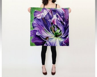"""Square Silk Scarf (26"""" or 36""""), reminiscent of tulips or magnolia blooms, is digitally printed from an original painting, """"Wind Dance"""""""