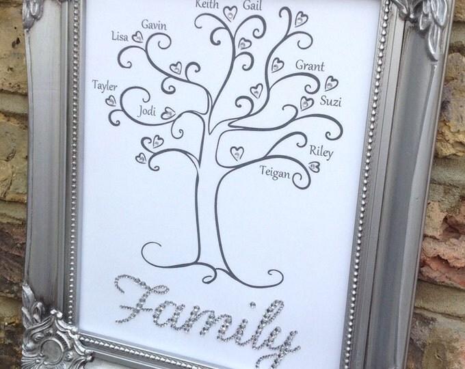 Personalised Family Tree Print | Ornate Frame | ShabbyChic | Custom prints | Sparkle