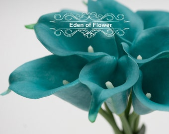 Real Touch Oasis Teal Calla Lilies for Bridal Bouquets, Wedding Centerpieces, Home Decorations, Boutonnieres, Corsage